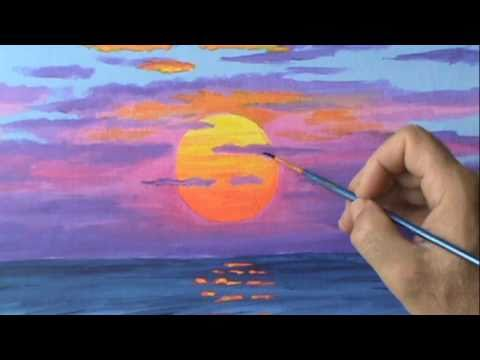 Painting A Red Sunset In Acrylics On Canvas For Beginners | Watch Art ...