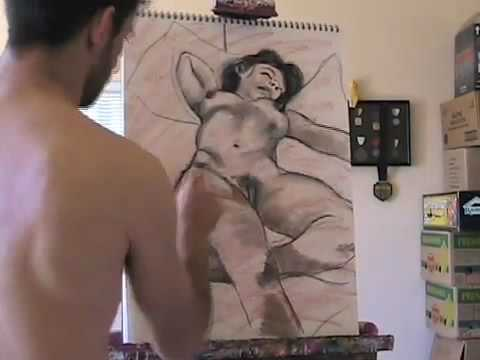 Paul Cumes: One Hour Morning Charcoal session – Nude Female
