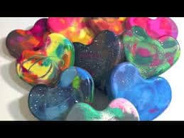 Making Glittered Heart Crayons